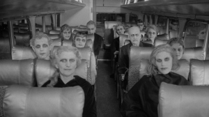 """Going Our Way? A bus load of ghouls in """"Carnival of Souls""""."""